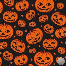 Michael Miller Pumpkin Heads Black Halloween 100% Cotton Fabric By The Yard