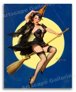 """""""Riding High"""" Vintage Style Witch on a Broom Elvgren Pin-Up Poster - 16x20"""