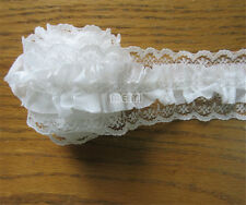 1yd Vintage Gathered Embroidered Lace Edge Trim Ribbon Applique Sewing Craft DIY