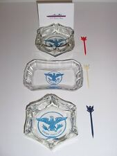 SS UNITED STATES LINES  Set of (3) Crystal Insignia Ashtrays  /  Top Condition