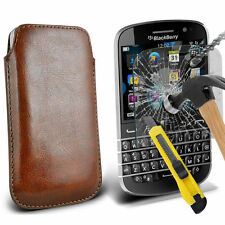 Brown PU Leather Pull Tab Case Pouch & Glass for Blackbery Q20