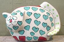 Vintage Ganz Bella Casa Pati Kitty Cat Heart Handpainted Bank - Old new stock