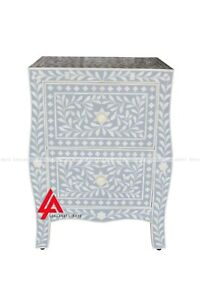Wood Bone Inlay Grey 2 Drawer Bedside Table And Night Stand Table