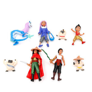 Raya and The Last Dragon Cartoon 8 PCS Movie Action Figure Kids Toy Doll Gift