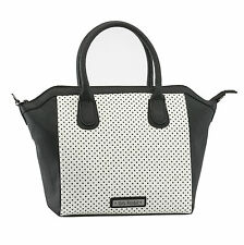 GG Rose by Rock Rebel Perforated Star Tote Handbag Black and White