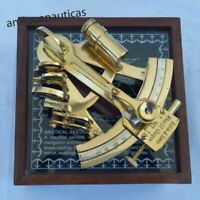 Nautical 4 Inch Brass Sextant Navigation Pocket With Wooden Box Golden Finish