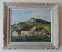 huile sur panneau - paysage - maison et falaise signé a marotte
