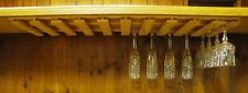 "36 wine glass stemware holder 11"" deep under cabinet wood rack"