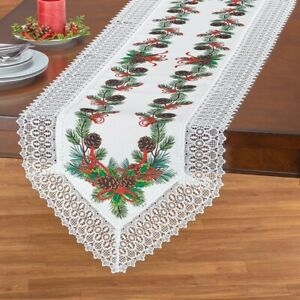Pinecones and Holly Leaves w/ Lace Borders Polyester Christmas Table Runner