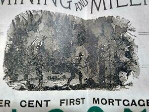 LARGE 1889 Bond Certificate: Golden Era Mining & Milling Company - Illinois IL
