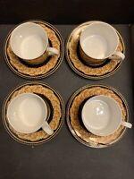 Casual Victoria Beale Renaissance 9051 Fine Translucent Set 4 Tea Cups & Saucers