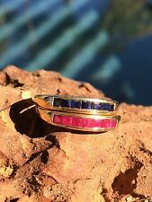 Two Ruby and Sapphire Stacking Rings - Stackable Bands - Not Scrap - Make Offer