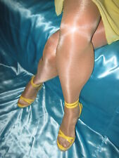 1990's Victoria's Secret Signature Gold Glossy Smooth Pantyhose Oatmeal LARGE