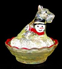 Boyd Art Glass Scottie Dog Covered Salt Hand Painted Vaseline Carnival
