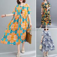 ZANZEA Women Beach Holiday Summer Long Midi Sundress Floral Printed Shirt Dress