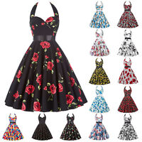 Plus Size  Womens 50s Retro Swing Pinup Girls Rock N Roll Evening Party Dress .
