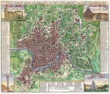 Mappa ANTICA sennex 1 721 ROMA piano vecchi grandi REPLICA poster stampa pam1205