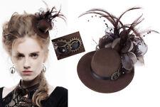 Mini chapeau steampunk victorien gothique plumes rouages fleur barrette Punkrave