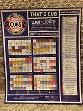 2017 CHICAGO CUBS MAGNET SCHEDULE-2016 WORLD CHAMPIONS WENDELLA EDITION - MINT