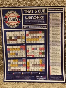 2017 CHICAGO CUBS MAGNET SCHEDULE-2016 WORLD CHAMPIONS WENDELLA EDITION - MINT