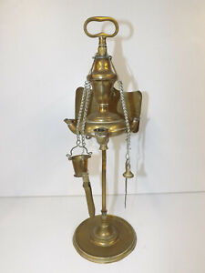 Antique 19th Century Brass Lucerne Oil Lamp With Light Reflector & Tools