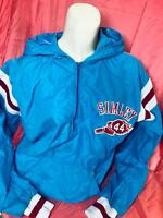 vtg SIMLEY Jacket School Windbreaker Medium Kangaroo Pkt Hooded Halfzip Blue