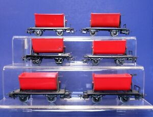 Lot of 6 Marklin HO Scale Red Tipping Ore Cars