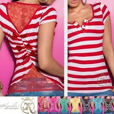 Gestreifte Taillenlang Damenblusen,-Tops & -Shirts mit Kurzarm-Ärmelart ohne Mehrstückpackung