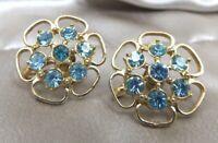 Vintage Costume Earrings Aqua Rhinestone Cluster Floral Gold tone Screw back