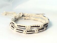 2 x White and Black Waxed Cotton Bracelet Anklet Wristband Mens Womens Beach