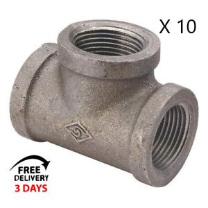 1/2 INCH BLACK IRON GAS PIPE THREADED TEE FITTINGS PLUMBING.LOT OF (10)