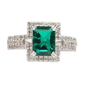 2.30Ct Natural Zambian Emerald With White Accents Ring In Finest 14KT White Gold
