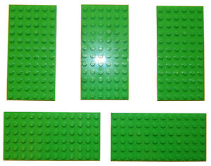 LEGO Plate 6x12 12x6 Bright Light Green Thin Baseplate Base (pack of 5) *