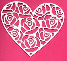NEW 10 ROSE HEART  DIE CUTS   - WHIE TOPPER-LOVE GARDEN WEDDING
