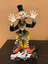 Playful Depose Italy Clown Statue w/ Carrara Marble Stand - Sticking Out Tongue