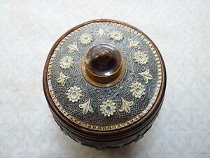 Antique Doulton Lambeth Stoneware Tobacco Jar with Foliate Pattern