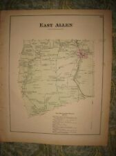 Antique 1874 East Allen Township Bath Northampton County Pennsylvania Map Rare
