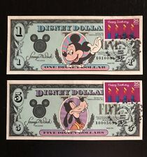 1990 $1 & $5 DISNEY DOLLARS with Happy Birthday STAMP 35 YEARS OF MAGIC