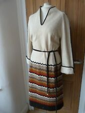 True Vintage 1970's cream and brown dress, boho, hippy. large.