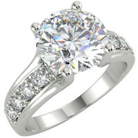 3Ct Round Cut White Diamond Engagement Wedding Ring Real Solid 14K White Gold