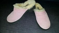 Uggs women size 4 pink suede clog slip-on lined with soft white fuzz