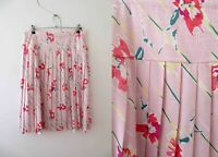 Vintage 80s Pink Floral Pleated Skirt Plus Size  Buy 3+ items for Free Postage