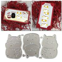 Lucky Cat Clear Stamps with Metal Cutting Dies DIY 11.4*5.8cm Scrapbooking F8X1