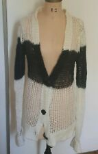 Etoile Isabel Marant white black stripe wide knit light cardigan mohair blend 0