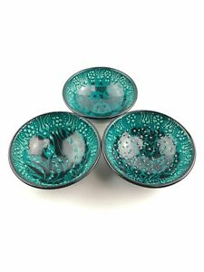 Hand Painted Ceramic Bowls(12 cm) - 3 Pieces Handmade Turkish Pottery