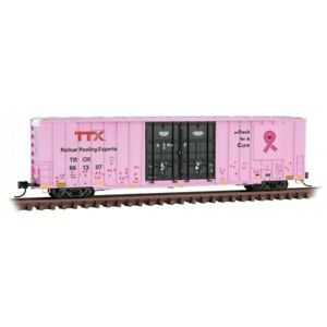 N Micro-Trains MTL 12300060 TBOX TTX Breast Cancer Awareness 60' Box Car #661307
