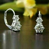 4.00Ct Round Cut Moissanite Drop/Dangle Womens Earring's 14K White Gold Finish