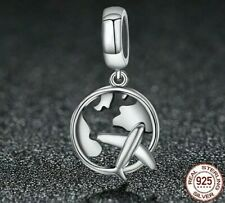 World and Plane Aeroplane Travel Charm For Charm Bracelet 925 Sterling Silver
