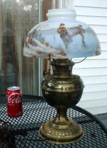 RARE ANTIQUE BRASS B & H BRADLEY & HUBBARD OIL LAMP W/ ICE SKATING SCENE SHADE