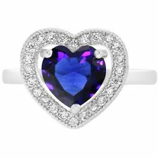 Moda Elegante Azul Cristal Transparente Corazón Amor Anillos para Mujer
